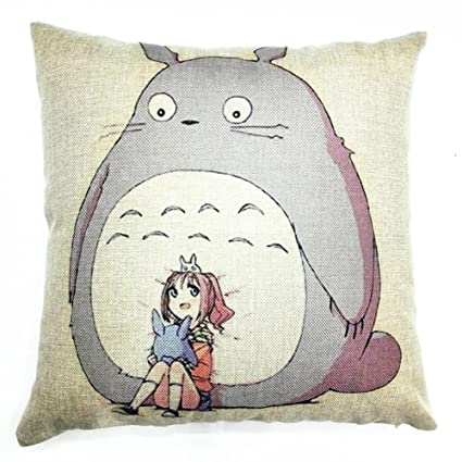 FAZHISHUN Cotton Linen Home Decorative Cute Totoro Throw Pillow Covers Cushion Cover for Sofa Couch,18
