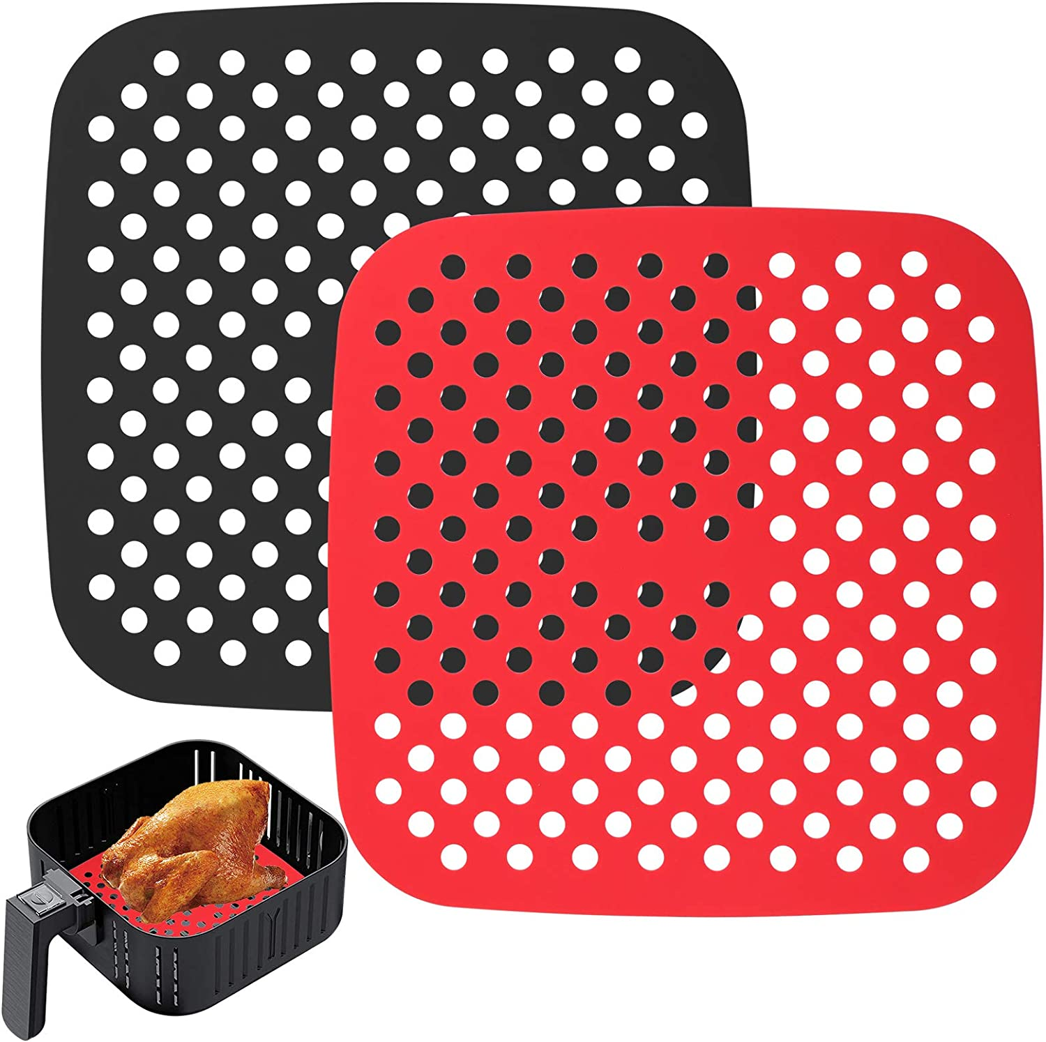 Mity rain Reusable Air Fryer Liners Silicone, 8.5 Inch Square Non-Stick Basket Mats Accessories, Bamboo Steamer Liners, for 5.8 QT & Larger Air Fryers, Replacement for Parchment Paper - (2 Packs)