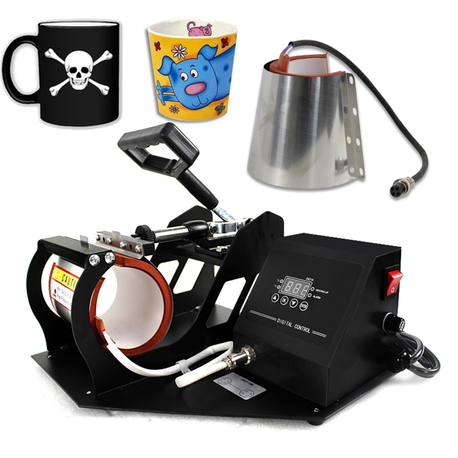 F2C 5 in 1 Professional Digital Transfer Sublimation Swing-away 360-degree Rotation Heat Press Machine Hat/Mug/Plate/Cap/T-shirt Multifunction Black F2C-T31