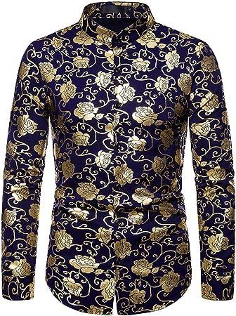 LISILI Camisa De Hombre Club Nocturno Hipster Oro Rosa Impreso Ajustado Manga Larga Abotonar Camisa De Vestir para Fiesta/Boda/Espectáculos,Azul,S: Amazon.es: Hogar
