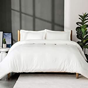 Bedsure White Washed Duvet Cover Set King Size with Zipper Closure,Ultra Soft Hypoallergenic Comforter Cover Sets 3 Pieces (1 Duvet Cover + 2 Pillow Shams), 104x90 inches