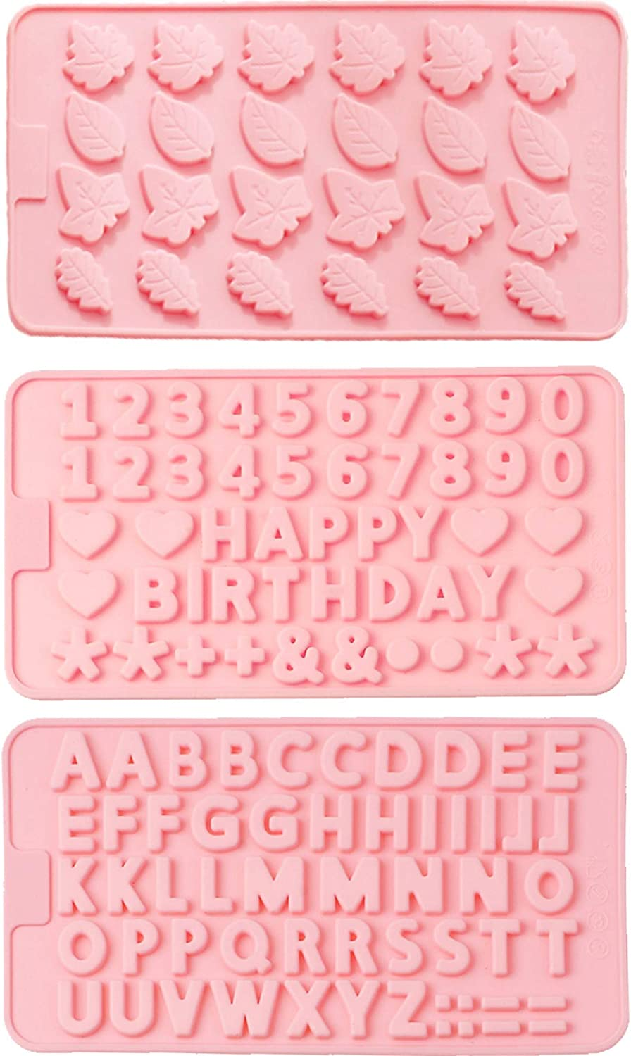Set of 3 Chocolate Leaves,Letter Molds,Number,Happy Birthday and Digital Silicone Matrix Non-stick Food Grade Silicone Matrix (Pink) for Chocolate,Candy, Jelly, Ice cubes (leaf3)