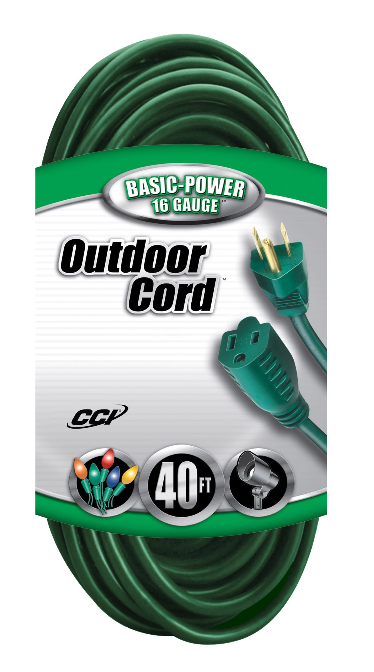 Coleman Cable 2356 16/3 Vinyl Landscape Outdoor Extension Cord, Green, 40 Foot by Coleman Cable (Image #1)
