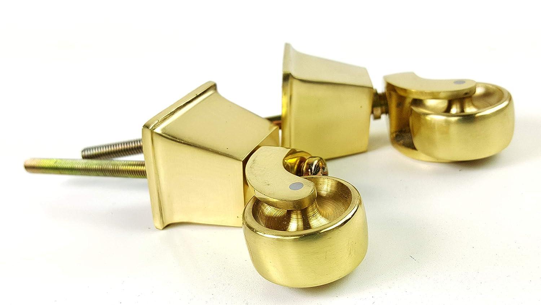 Knightsbrandnu2u 2 Ruedas cuadradas de latón para Ruedas de 38 mm con Perno de 210 - 220 mm para Muebles, Juegos, Camas, sofás sillas de pie ect ...