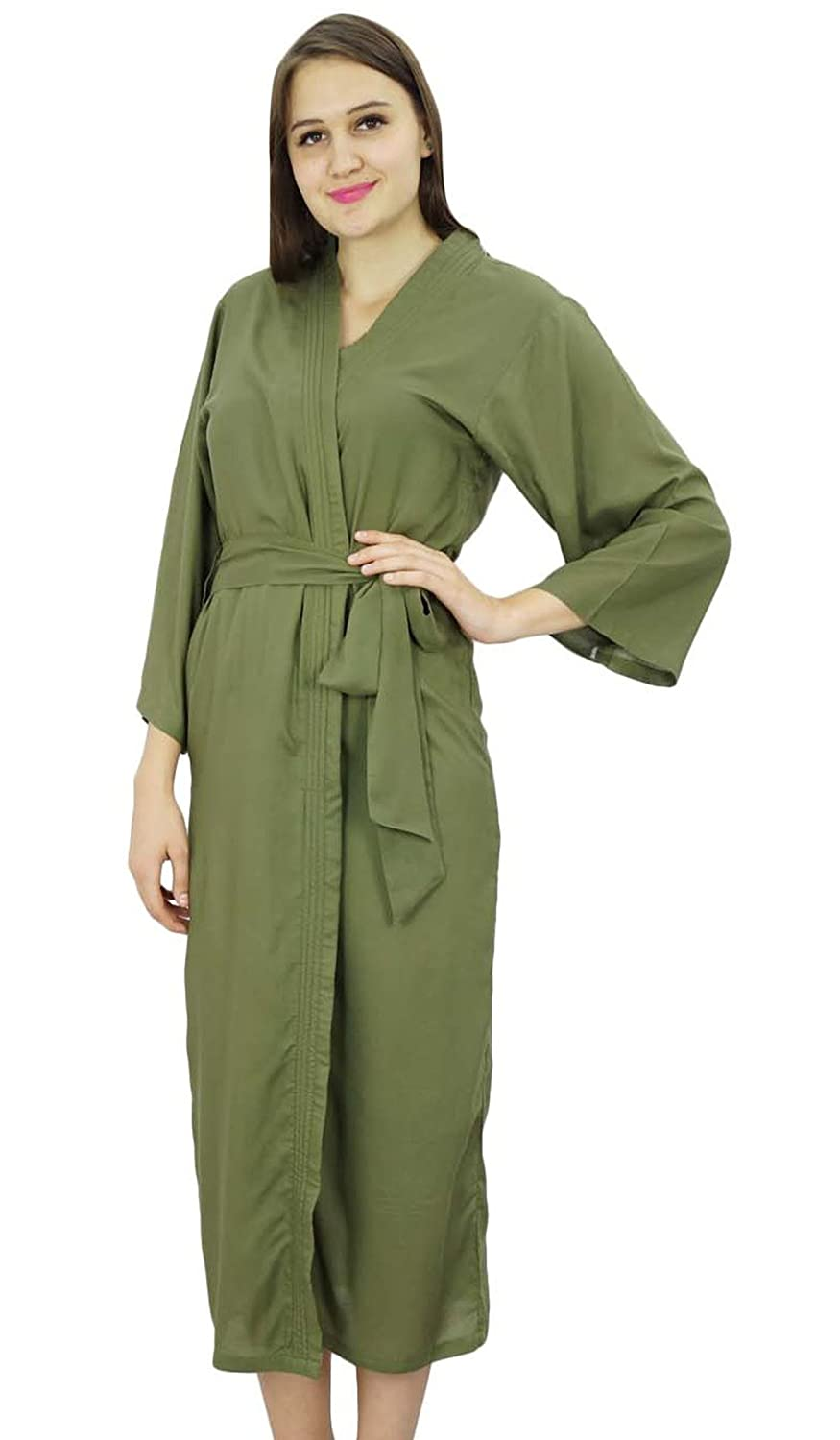 Bimba Women Long Solid Belt Robe Soft Modal Cotton Wrap Round Plain Bath Robe