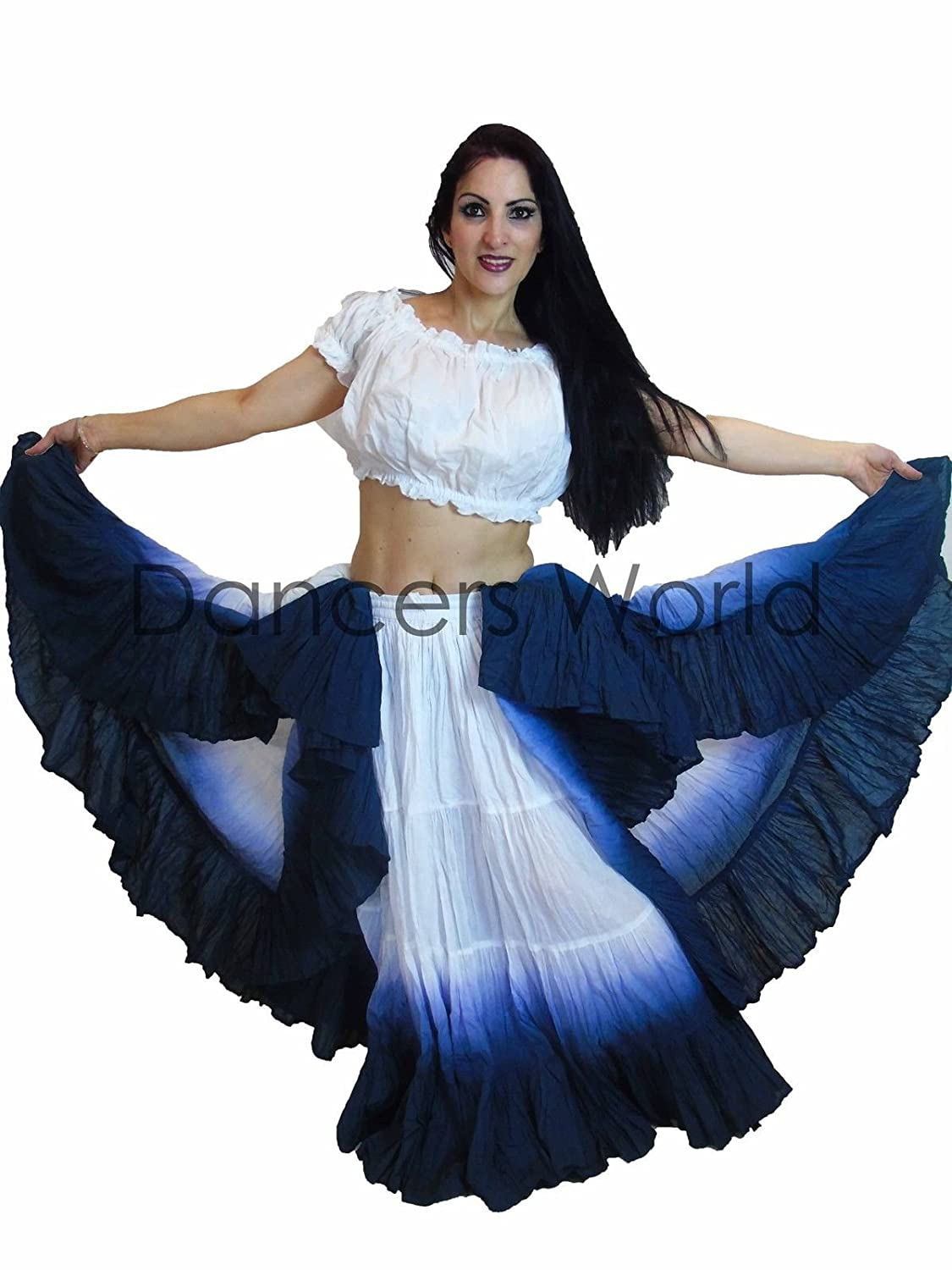 25 Yard Yards Tribal Gypsy Cotton 2pc Belly Dancing Dance Skirt & Top ATS SHADED DESIGN - SIZE US-CANADA 10 - 22 (2) Dancers World Ltd (UK Seller)