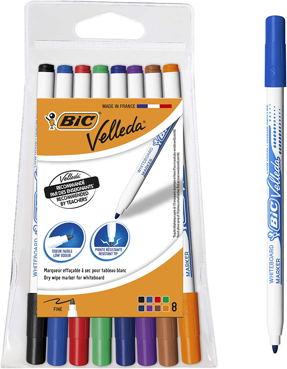 Bic Velleda Dry Wipe Markers for Whiteboards Assorted Pack of 4
