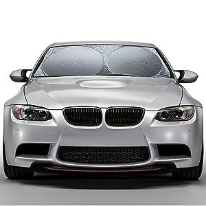 OxGord Windshield Sunshade Protects UV Rays - Auto Window Screen Visor Heat Blocker - Universal Fit Sun Shade for Car, Truck, SUV, Van (Round)