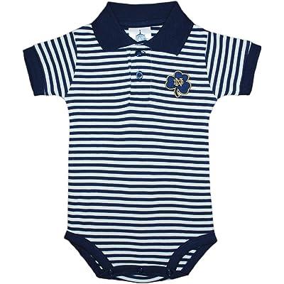 Creative Knitwear Notre Dame University Shamrock Newborn Striped Polo Bodysuit