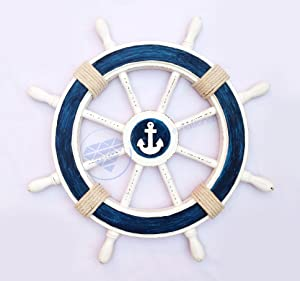 """Nagina International 24"""" Nautical Decorative White Blue Premium Ship Wheel with Accentuated Anchor and Rope 