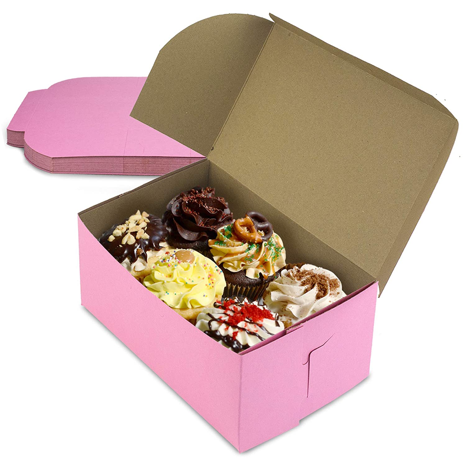[10 Pack] Pink Bakery Boxes - 8 x 5 x 3.5 Inches Pink Cake Boxes - Pastry Box for Cupcakes, Desserts, Cookies, Candies - Ideal Packaging for Bakeries and Home-Made Baked Treats, Favors, and Gifts