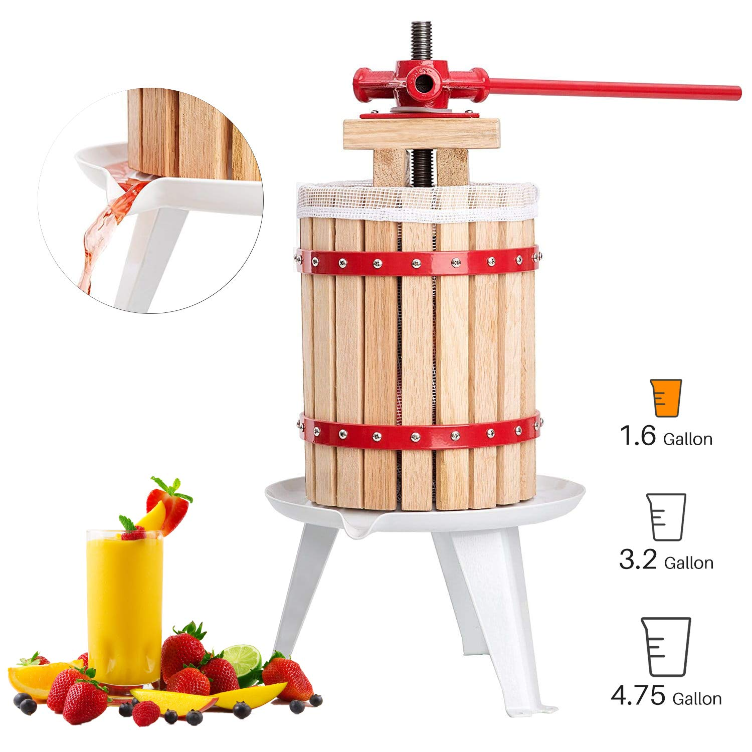 Fruit and Wine Press 1.6 Gallon Cider Apple Grape Crusher Juice Maker Tool Wood by Eelpitha