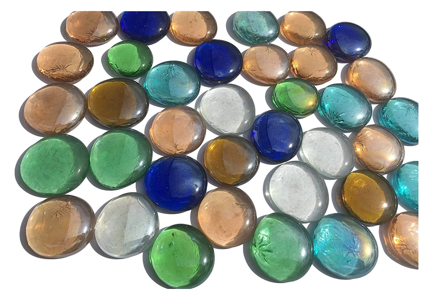 Mélange cabochon en verre Nuggets 3, 5 cm 600 g boules décoratives multicolores Plat Verre Décoration Table billes en verre de vase décoratif Garnissage cabochon en verre multicolore de Crystal King