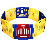 Costzon Baby Playpen Kids Safety Activity Center Play Zone (8 Panel, Blue)