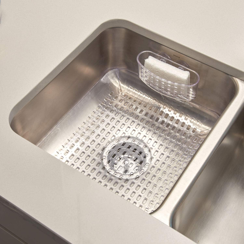 "iDesign Contour Plastic Sink Grid, Non-Skid Dish Protector for Kitchen, Bathroom, Basement, Garage, 17.35"" x 13.9"" x 0.35"" - Clear"