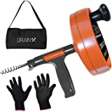 DrainX Drain Auger Pro | Heavy Duty Steel Drum Plumbing Snake with 25-Ft Drain Cleaning Cable | Comes with Work Gloves and St