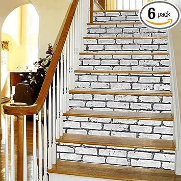 Yazi Peel And Stick Tile Backsplash Stair Decals Brick Pattern Stair Riser  Refurbished Stair Treads Decals