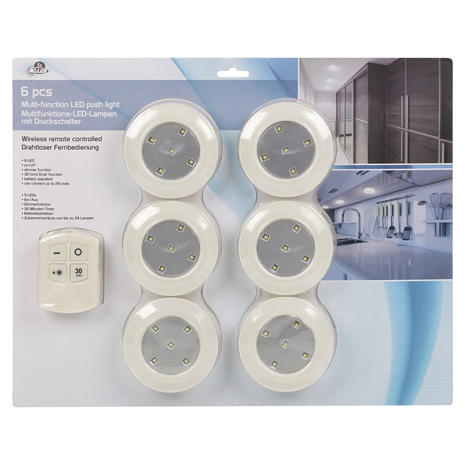 6 x remote control wall ceiling led push lights kitchen bathroom 6 x remote control wall ceiling led push lights kitchen bathroom cabinet shed amazon kitchen home parisarafo Images