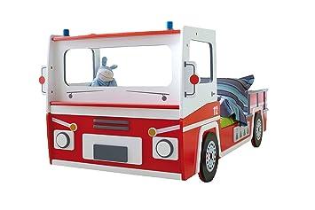 Amazon De Autobett Feuerwehr Inkl Rollrost 90 200 Rot Weiss Sos