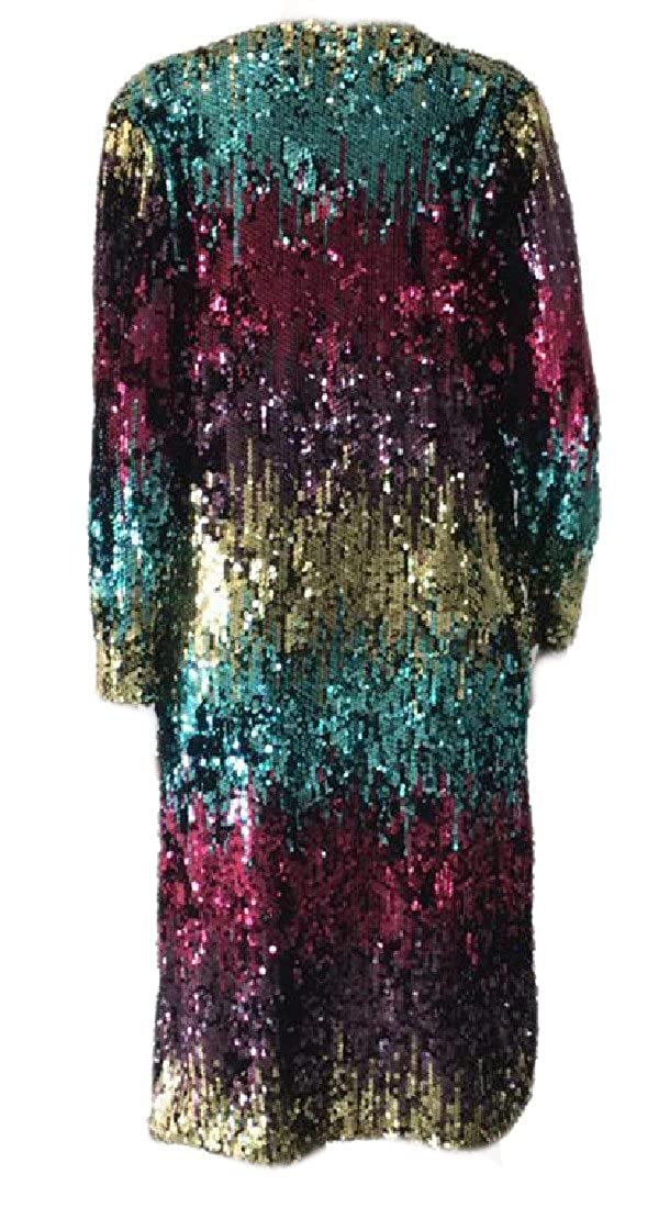 Front Sequin Stylish Topcoat Outwear ColourfulWomen Colourful Women Collision Color Open