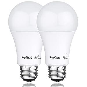 AmeriLuck 3-Way LED A19 Light Bulb 50-75-100W Equivalent 3000K Warm White (2 Pack)