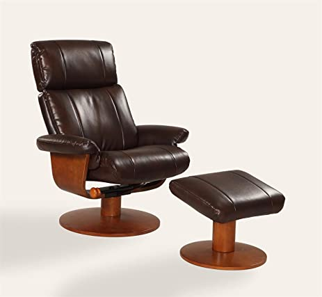 Oslo Collection Nora 812 103 Air Massage Bonded Leather Swivel Recliner  With Ottoman,