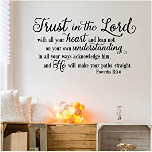 "Trust in The Lord with All Your Heart.Proverbs 3:5-6 Vinyl Lettering Wall Decal Sticker (21""H x 38""L, Black)"
