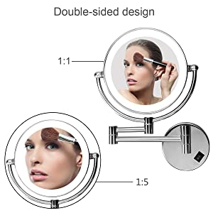 Excelvan LED Make Up Mirror 8 Inch Double Sided Swivel