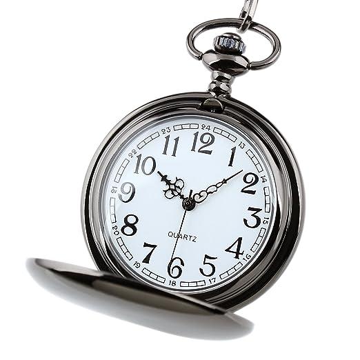 Reloj Bolsillo Negro Caja Acero Inoxidable Cuarzo Retro Antigüedad La Vendimia La Cadena Los Hombres: Amazon.es: Relojes