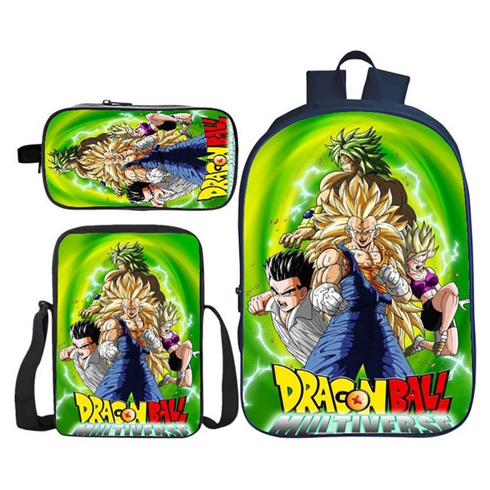 BDMF Zaino della Scuola 3D Sfera del Drago Super Anime Zaino per Bambini Bookbag per Studenti 3PCS per Ragazzi Ragazze con Tasca Laterale,4