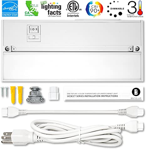 Britelum 9 Inch, 3-in-1 Color Temperature: Dimmable LED Under Cabinet  Lighting; 2700K/ 3500K/ 4000K w/ CRI90+, Hardwired or Plug in, Energy Star,  CA T24, ETL Listed, 120V 4W 200 Lumens, White Finish - -Amazon.com