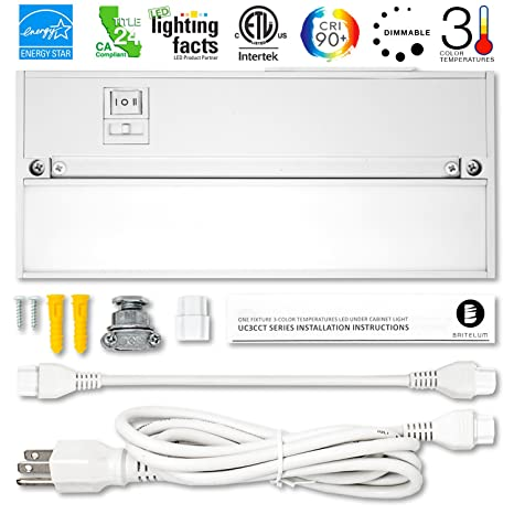 Britelum 9 Inch, 3-in-1 Color Temperature: Dimmable LED Under Cabinet on wiring led bulbs, wiring led tube, undershelf lighting, cabinet shelf lighting, kitchen lighting,
