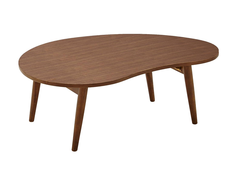 大川家具 関家具 センターテーブル 豆型 90cm幅 ウォールナット 234263 B07429S59V ウォールナット ウォールナット