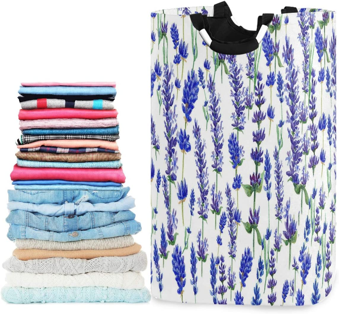 visesunny Collapsible Laundry Basket Purple Lavender Flower Large Laundry Hamper with Handle Toys and Clothing Organization for Bathroom, Bedroom, Home, Dorm, Travel