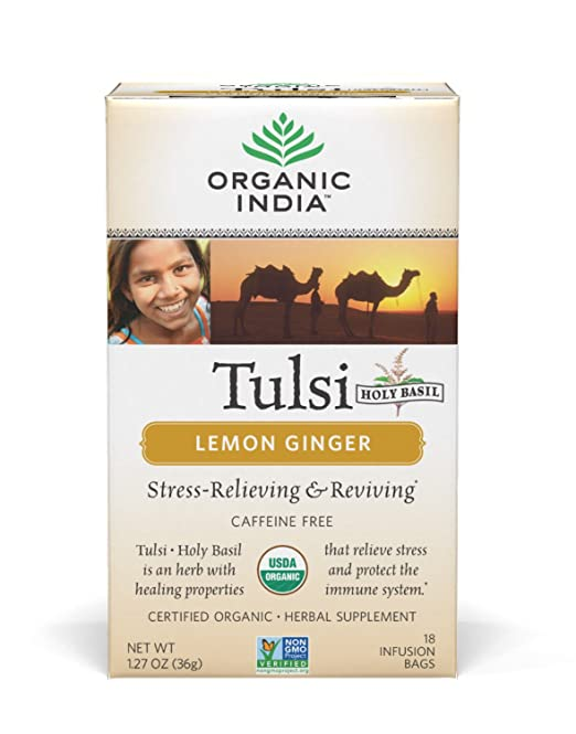 ORGANIC INDIA Tulsi Lemon Ginger Tea - Delicious Holy Basil and Lemon Ginger Blend Rich in Antioxidants - 100% Certified Organic, Non-GMO, and Fair Trade, 18 Tea Bags (1 Pack)