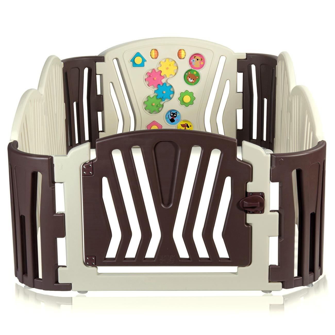Baby Vivo Parc B/éb/é Barri/ère S/écurit/é Plastique Enfant Protection Porte Panel Jeu Espace Jeu Chambre Brown