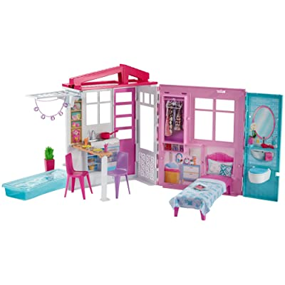 Barbie Dollhouse, Portable 1-Story Playset with Pool and Accessories, for 3 to 7 Year Olds​​​: Toys & Games