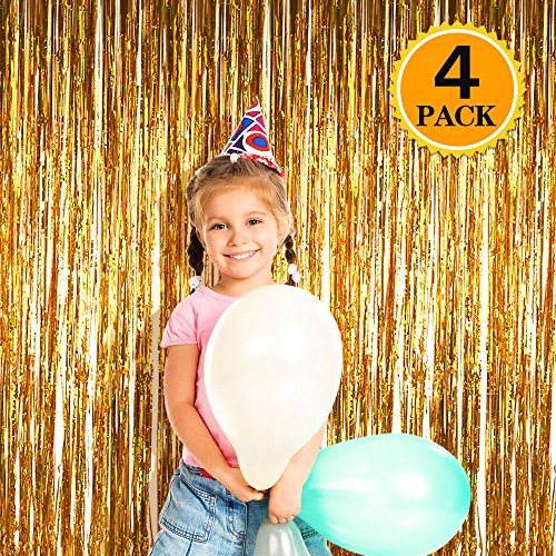 Zealor 4 Pack Metallic Tinsel Foil Fringe Curtains 3.28ft 8.2ft Backdrop for Parties and (Metallic Gold Streamer)
