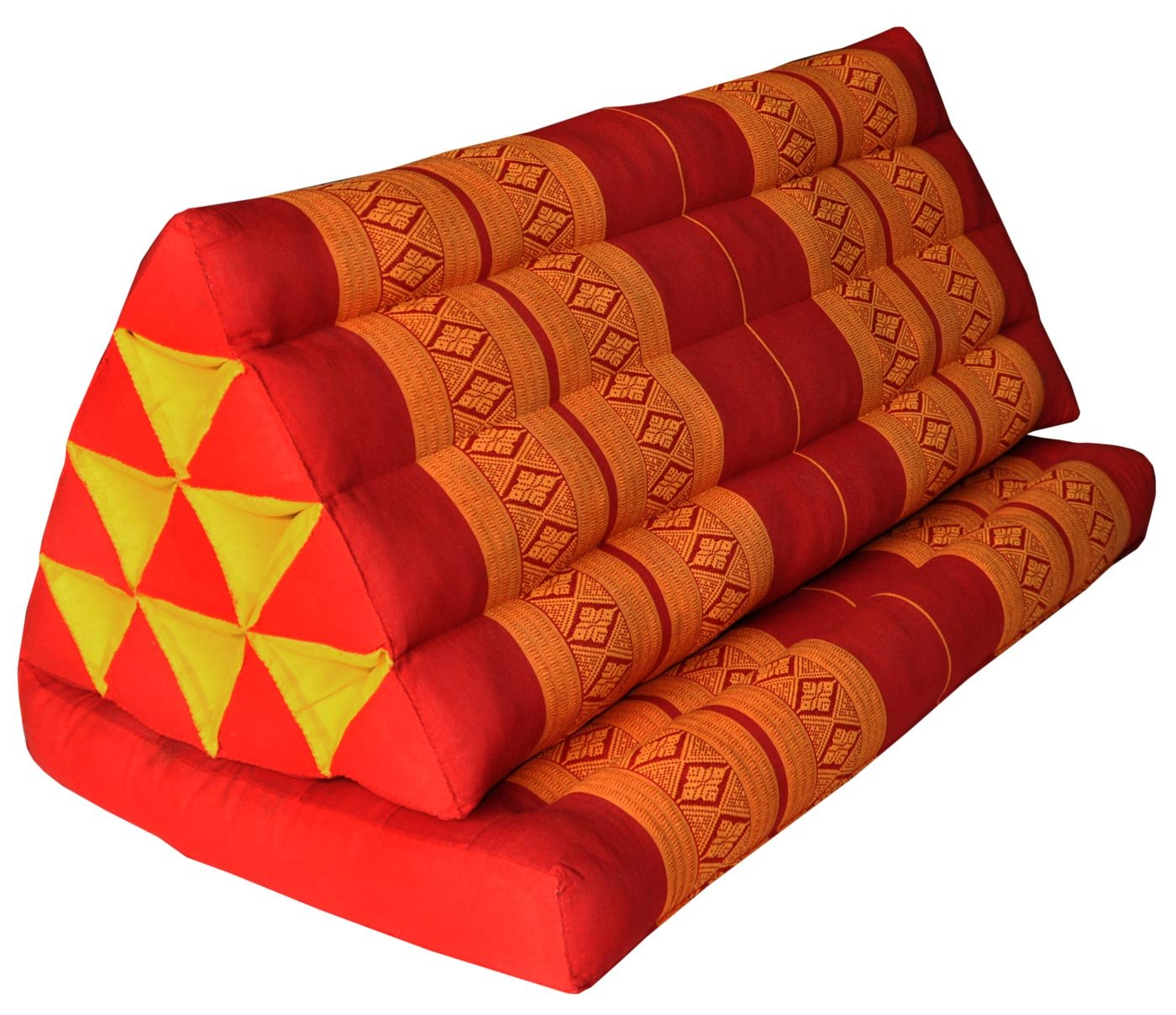 Thai triangle cushion XXL, with 1 folding seat, red/orange, sofa, relaxation, beach, pool, meditation, yoga, made in Thailand. (81016) by Wilai GmbH