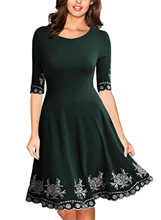 7fec77229 Miusol Women s Vintage Style Embroidered Evening Party Swing Dress ...