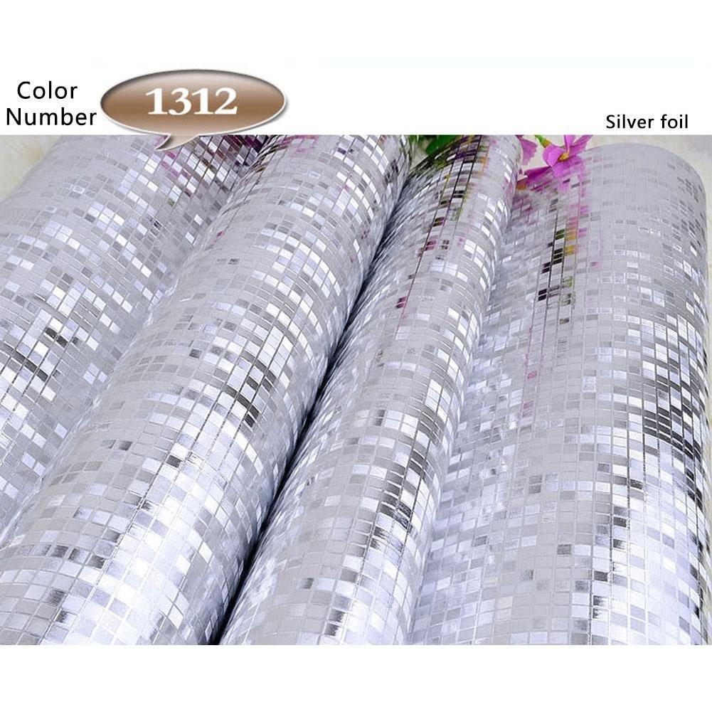 Gold Foil Silver Foil Wallpaper KTV Bar Counter Column Wallpaper 10M53CM 3D Waterproof Glitter Mirror Effect Mini Mosaic Sparkle Light Reflection
