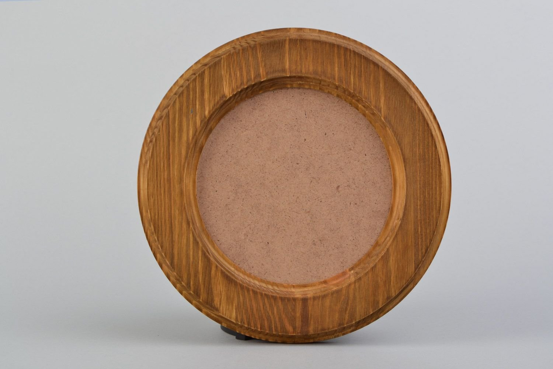Marco de fotos artesanal de madera de pino redondo pequeño: Amazon.es: Juguetes y juegos