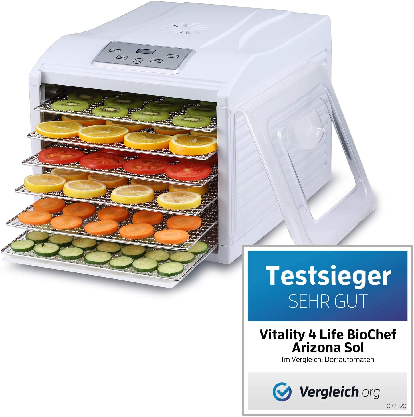 Deshidratador de Alimentos BioChef Arizona Sol - 6 Bandejas Acero Inoxidable | 500W | Temporizador | Temperatura 35-70º | Deshidratadora | Yogurtera | Sin BPA