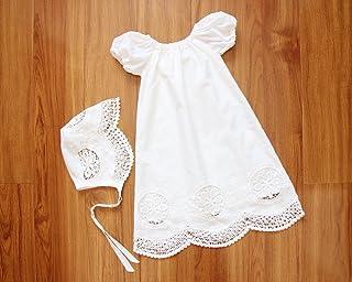 SALE Handmade Short Sleeves Baby Girl Baptism Dress & Bonnet Christening Gown Christening Dress Blessing Dress Baptism Gown Baptismal Gown