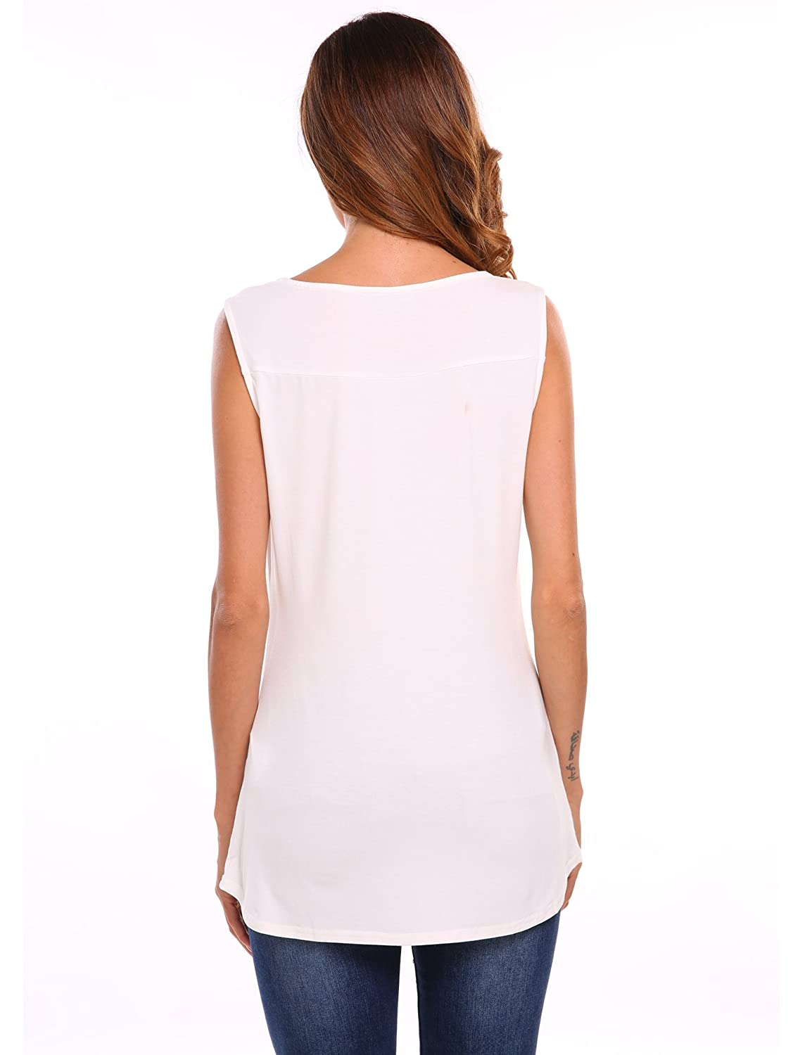 4cd5da8972baa Zeagoo Women s Summer Sleeveless Blouse Basic Comfy Flowy Tank Top at  Amazon Women s Clothing store