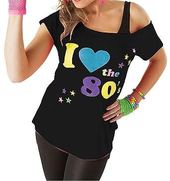 Women/'s I Love the 80s Fancy Dress Ladies Hen Party Retro T-Shirt Top New UK
