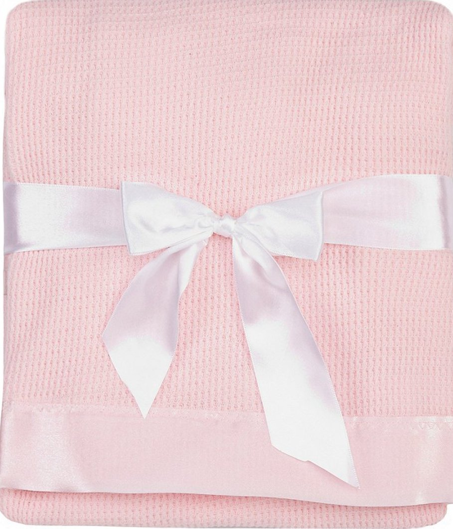 ba8d1eeae0 Details about Thermal Waffle Weave Baby Blanket with Satin Nylon Trim (pink)