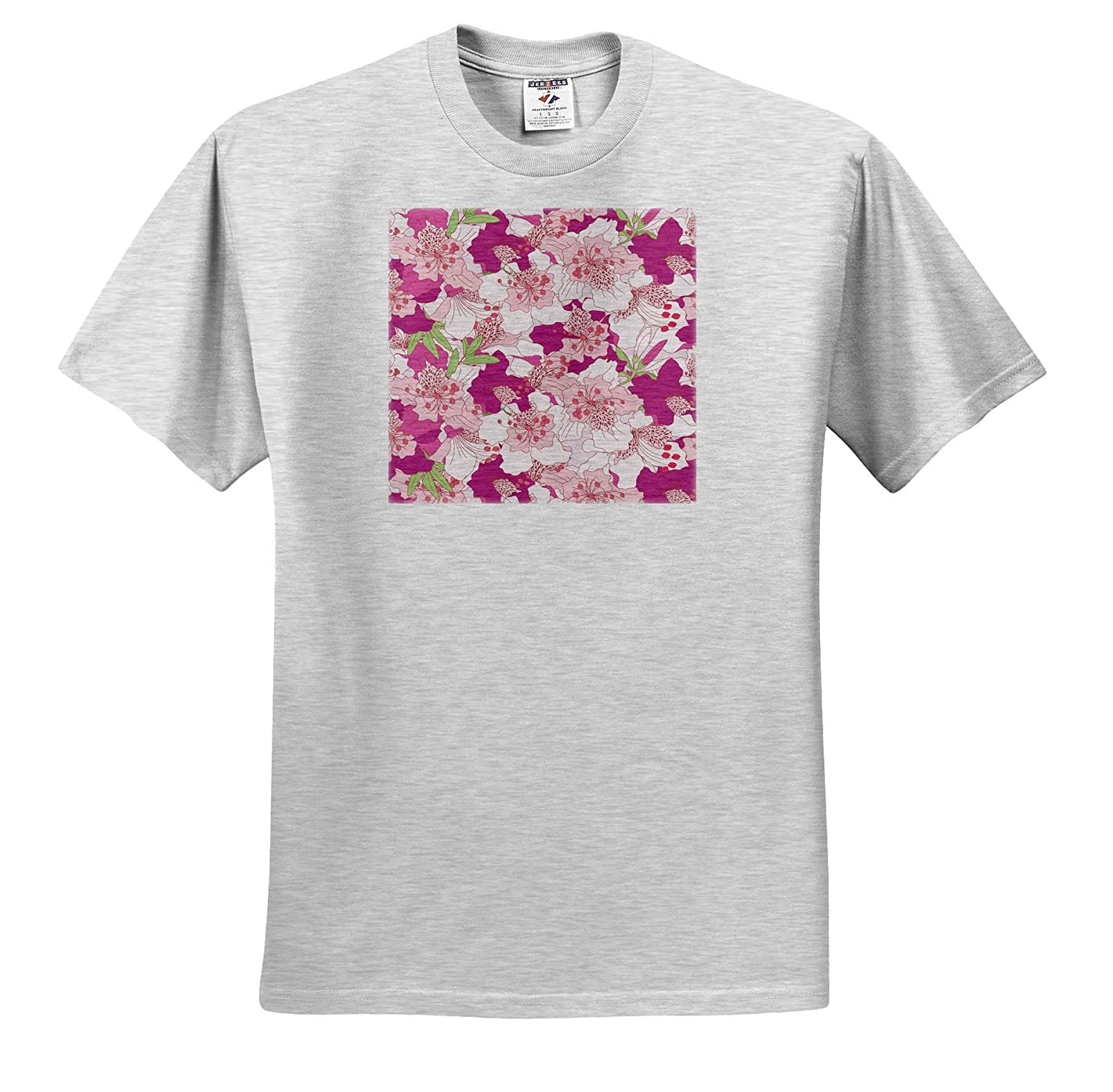 T-Shirts 3dRose Sven Herkenrath Nature Rhododendron Flower in Pattern Style with Many Flowers