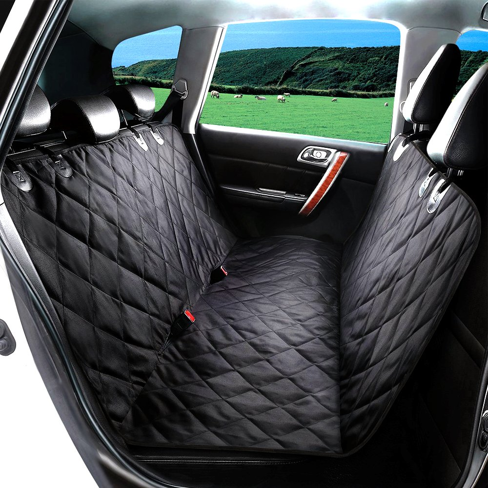 TIOVERY Dog Seat Cover, Pet Car Seat Covers with Anchors, Waterproof & Nonslip Rubber Backing, Durable Pet Back Seat Covers for Cars, Trucks and SUVs