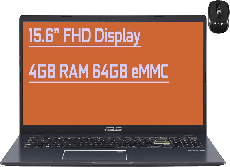 "Flagship Asus Vivobook 15 Ultra-Thin Business/Student Laptop 15.6"" Full HD Display Intel 2-Core N4020 4GB RAM 64GB eMMC Backlit KB Fingerprint Reader USB-C Bluetooth HDMI Win10 + iCarp Wireless Mouse"